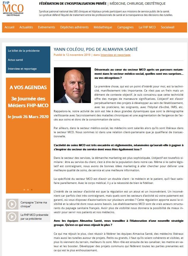1,2,3 questions à : Yann Coléou PDG de Almaviva Santé