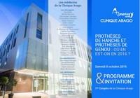"""Congrès à la Clinique Arago """"Prothèses de hanche et prothèses de genou : où en est-on en 2016 ?"""""""