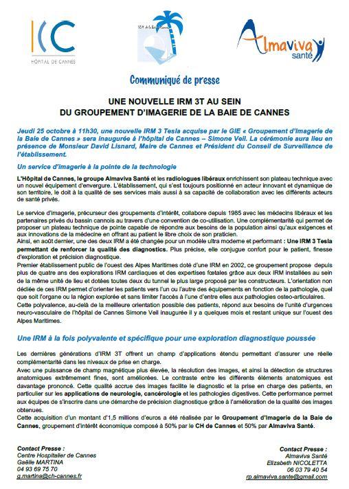 Une nouvelle IRM 3T au sein du groupement d'imagerie de la baie de Cannes