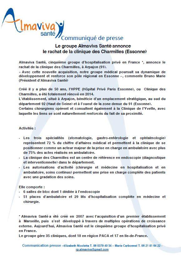 Le Groupe Almaviva Santé annonce le rachat de la clinique des Charmilles