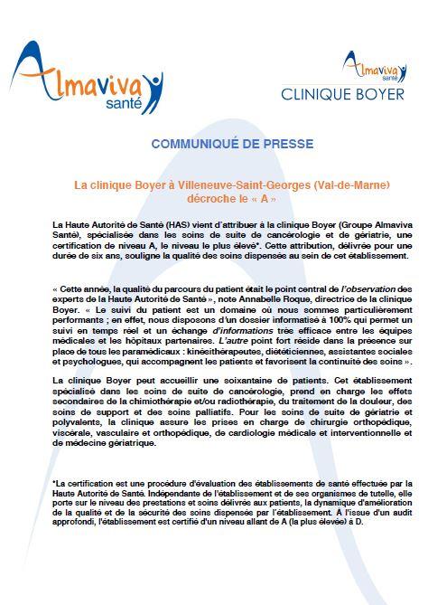 La clinique Boyer à Villeneuve-Saint-Georges (Val-de-Marne) décroche le « A »