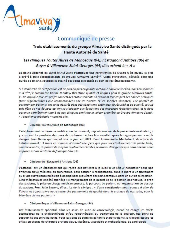 Trois établissements du groupe Almaviva Santé distingués par la Haute Autorité de Santé