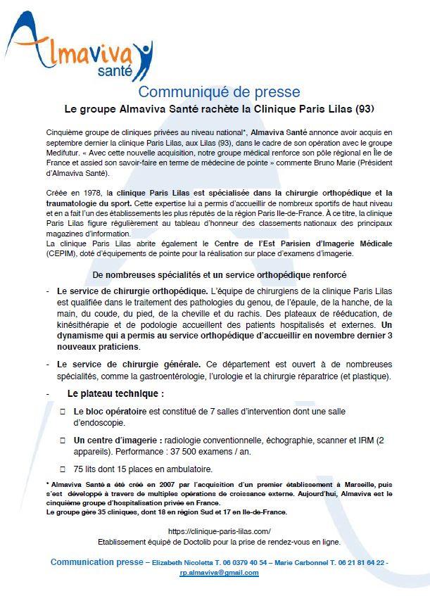Le groupe Almaviva Santé rachète la Clinique Paris Lilas (93)