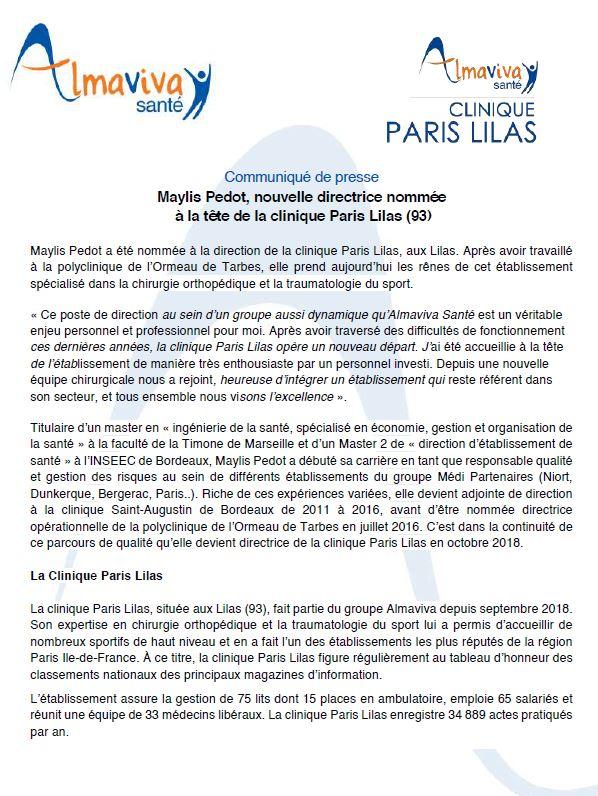 Maylis Pedot, nouvelle directrice de la Clinique Paris Lilas
