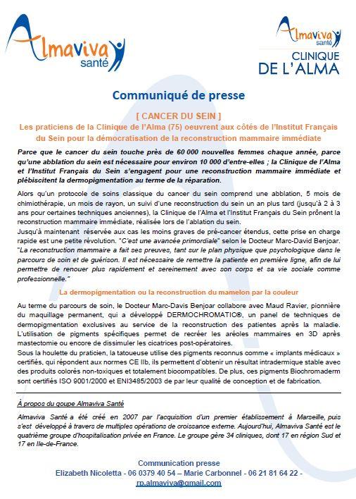 Les praticiens de la Clinique de l'Alma (75) oeuvrent aux côtés de l'Institut Français du Sein pour la démocratisation de la reconstruction mammaire immédiate