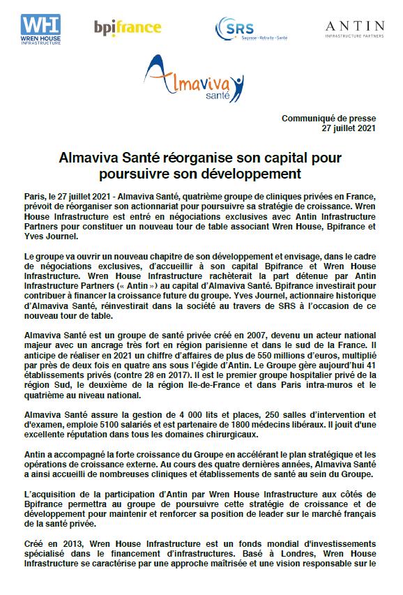 Almaviva Santé réorganise son capital pour poursuivre son développement