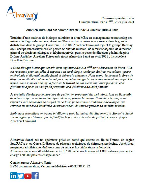 Aurélien Thirouard est nommé Directeur de la Clinique Turin à Paris
