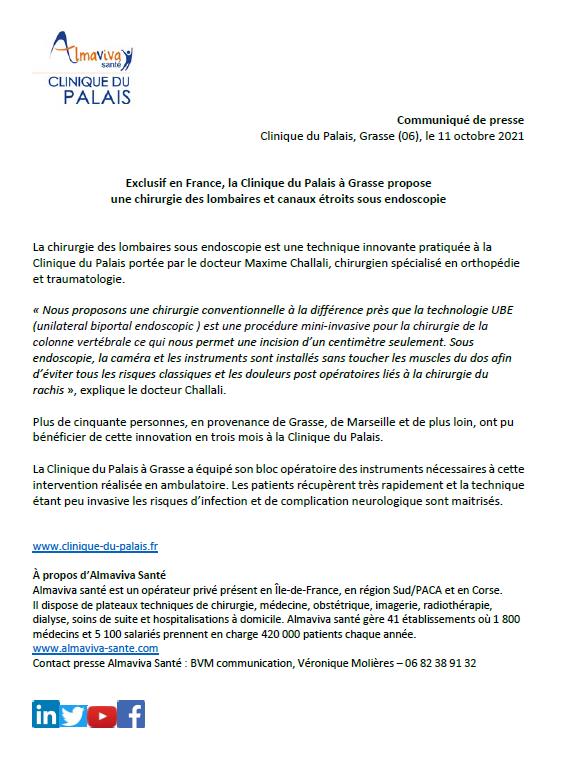 Exclusif en France, la Clinique du Palais à Grasse propose une chirurgie des lombaires et canaux étroits sous endoscopie