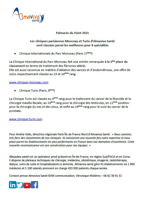 Les cliniques parisiennes Monceau et Turin d'Almaviva Santé sont classées parmi les meilleures pour 8 spécialités