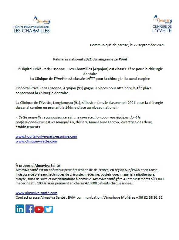 L'Hôpital Privé Paris Essonne – Les Charmilles (Arpajon) est classée 1ère pour la chirurgie dentaire