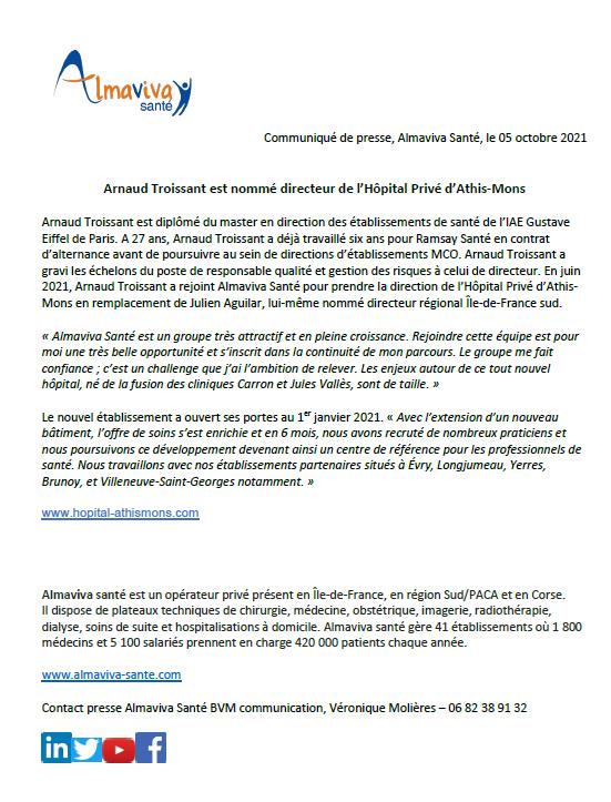 Arnaud Troissant est nommé directeur de l'Hôpital Privé d'Athis-Mons