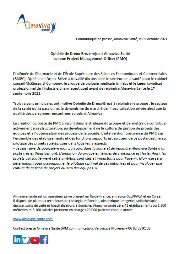 Ophélie de Dreux-Brézé rejoint Almaviva Santé comme Project Management Officer (PMO)