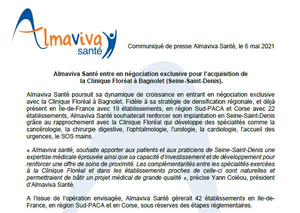 Almaviva Santé entre en négociation exclusive pour l'acquisition de la Clinique Floréal à Bagnolet (Seine-Saint-Denis)