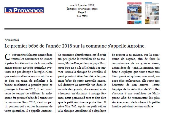Le premier bébé de l'année 2018 sur la commune s'appelle Antoine