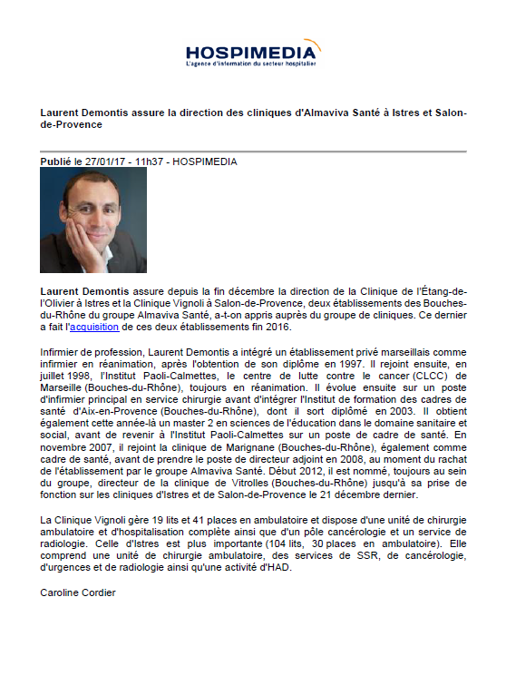 Laurent demontis assure la direction des cliniques d for Clinique vignoli salon