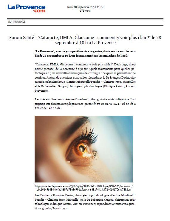Forum Santé : Cataracte, DMLA, Glaucome : comment y voir plus clair !