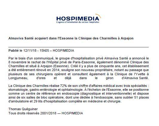 Almaviva Santé acquiert dans l'Essonne la Clinique des Charmilles à Arpajon