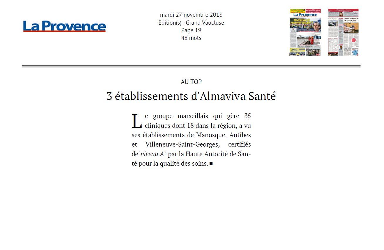 3 établissements d'Almaviva Santé