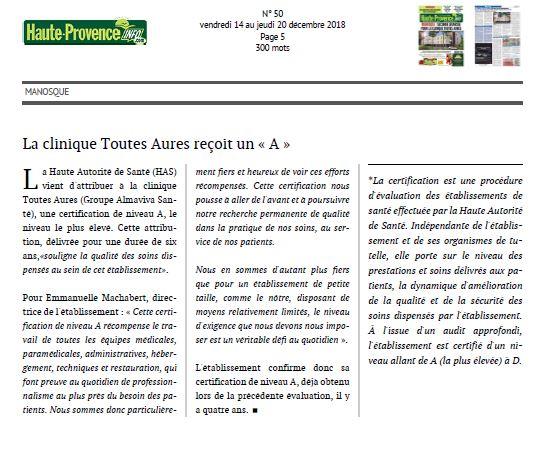 """La Clinique Toutes Aures reçoit un """"A"""""""