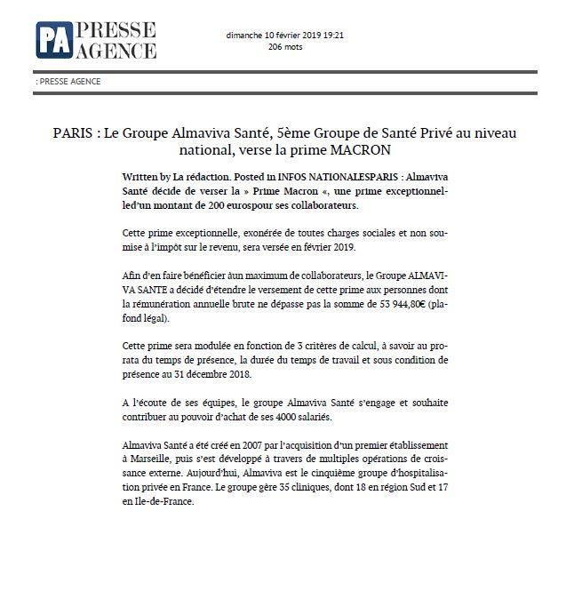Le Groupe Almaviva Santé verse la prime Macron