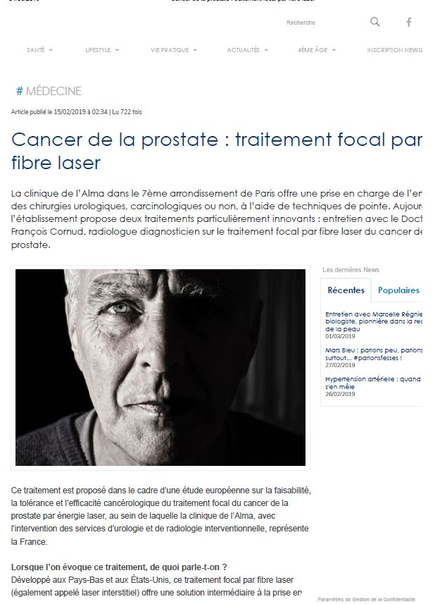 Cancer de la prostate traitement focal par fibre laser