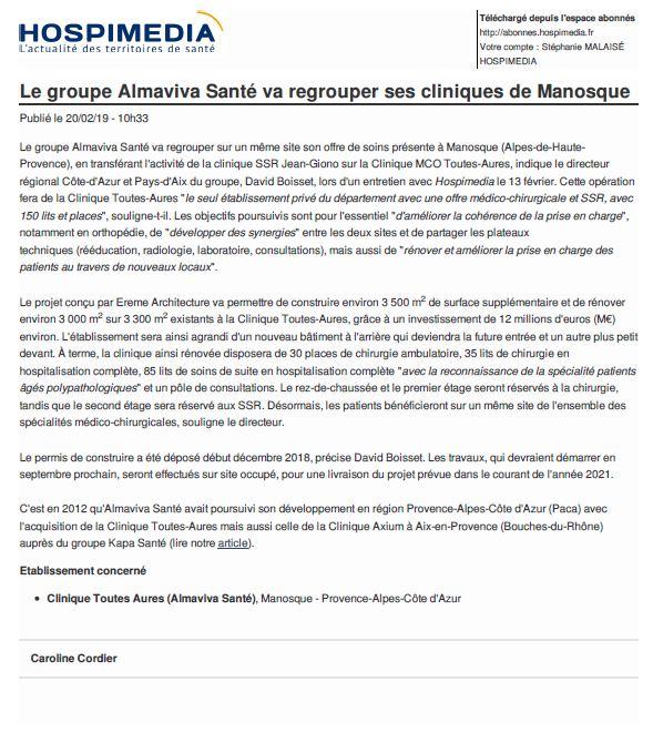 Le groupe Almaviva Santé va regrouper ses cliniques de Manosque