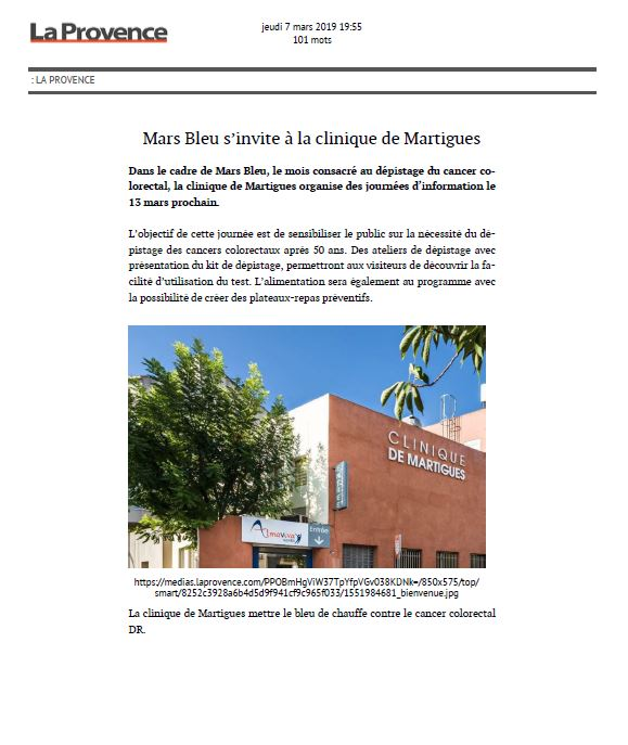 Mars Bleu s'invite à la clinique de Martigues