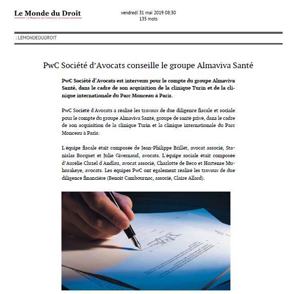 PwC Société d'Avocats conseille le groupe Almaviva Santé