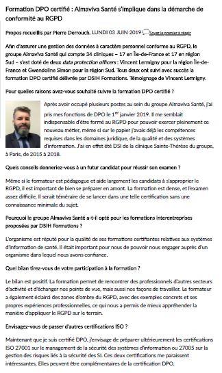 Formation DPO certifié : Almaviva Santé s'implique dans la démarche de conformité RGPD