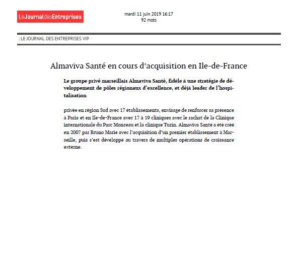 Almaviva Santé en cours d'acquisition en Ile-de-France