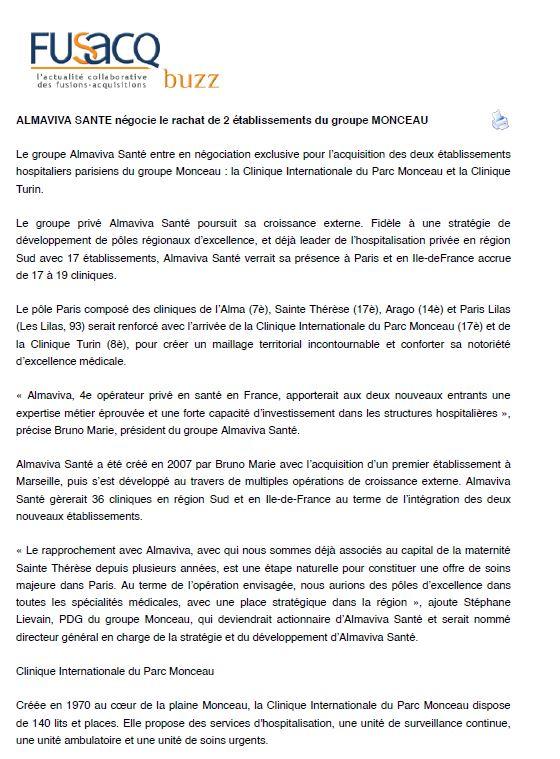 Almaviva Santé négocie le rachat de 2 établissements du groupe Monceau