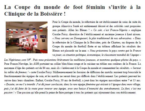 La Coupe du monde de foot féminin s'invite à la Clinique de la Boissière !