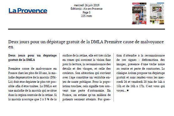 Deux jours pour un dépistage gratuit de la DMLA
