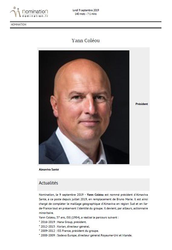 Yann Coléou nommé Président
