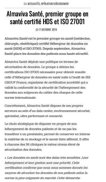 Almaviva Santé, premier groupe en santé certifié HDS et ISO 27001