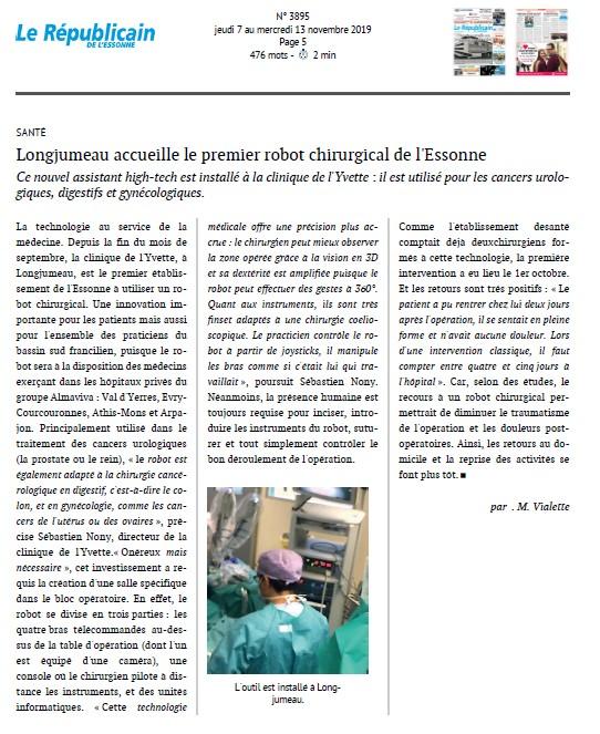 Longjumeau accueille le premier robot chirurgical de l'Essonne