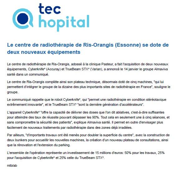 Le centre de radiothérapie de Ris-Orangis (Essonne) se dote de deux nouveaux équipements