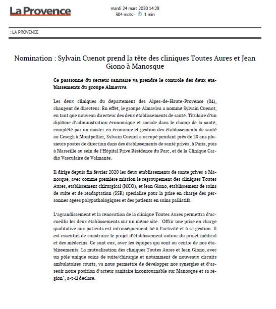 Nomination Sylvain Cuenot prend la tête des cliniques Toutes Aures et Jean Giono à Manosque