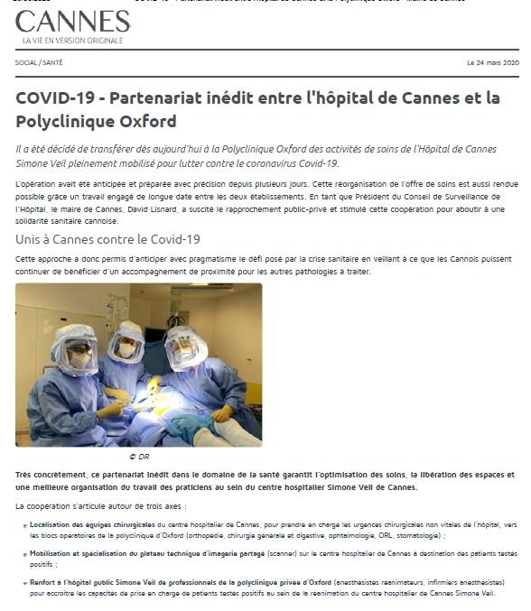 Partenariat inédit entre l'hôpital de Cannes et la Polyclinique Oxford