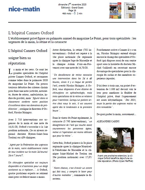l'Hôpital Privé Cannes Oxford soigne sa réputation