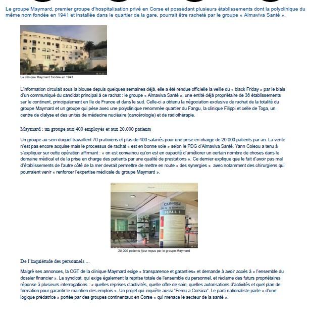 Cliniques Maymard de Bastia : une vente imminente