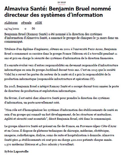 Almaviva Santé: Benjamin Bruel nommé directeur des systèmes d'information