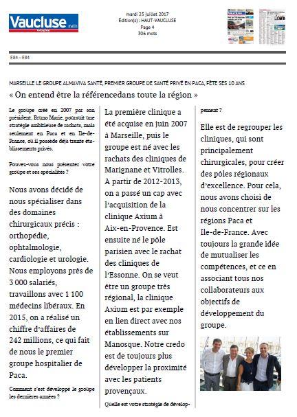 Le Groupe Almaviva Santé, fête ses 10 ans
