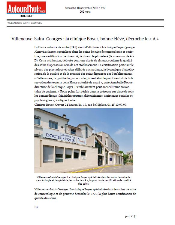 Villeneuve Saint Georges : La clinique Boyer, bonne élève, décroche le A