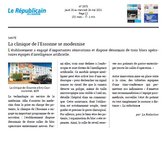 La clinique de l'Essonne se modernise